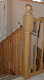 Handrail with spindles mounted  on the steps
